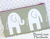 Slim Cosmetic Pouch in Gray and Raspberry, Large Zipper Pouch, Handmade Elephant Walk Fabric Make Up Bag