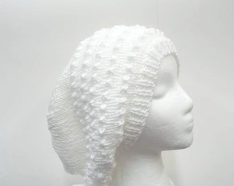 Slouchy beanie hat handmade white with eyelets    5262