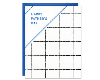 Father's Day Grid Letterpress Card