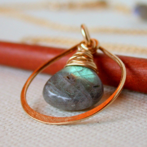 Labradorite Teardrop Necklace. Simple Labradorite Necklace. Hammered Teardrop Necklace. Labradorite Pendant Necklace.