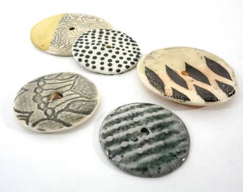 Desert Lust Charms - Collection of 5 Handmade Ceramic Discs for Nomadic Jewelry Design