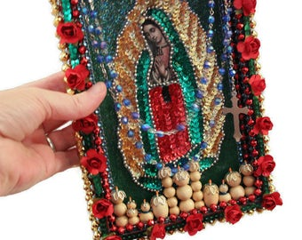 Virgin de Guadalupe Altar,Sequined Guadalupe Patch,Mexican Mixed Media Art Work,,Mexican Folk Art,Dia de los Muertos