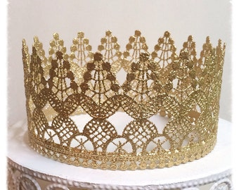 Gold Lace Crown Birthday Crown, Cake Topper, Bridal Shower, Toddler Crown