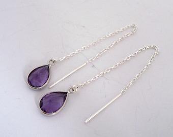 Natural purple amethyst tear drop Sterling Silver ear threader cable chain earring threader February Birthstone
