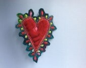 Lovely Textile Heart brooch