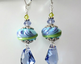 Lampwork Freesia Earrings, Tanzanite Crystals, Galactic Crystal Drops, Aqua, Purple, Green, Silver Beaded Earrings, Beaded Jewelry, Flowers
