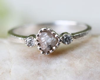 Tiny rough diamond ring in texture sterling silver band and twin side set diamond gemstones