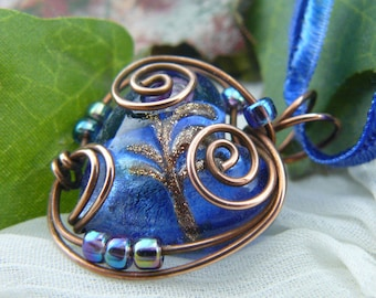 Blue Lampwork Glass Copper Wire Wrapped Heart Bead Pendant