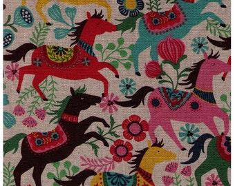 HALF YARD - Wild Scandanavian Horses and Flowers - 45/55 Cotton/Linen Blend - Japanese Import
