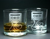 BLACK FRIDAY SALE - Sale - 2 Cassette Mixtape Lowball Glasses - lovers of analog