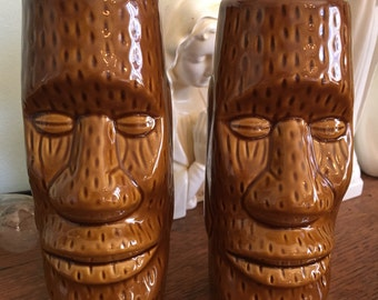 Vintage Brown Tiki Glasses Vase Barware Polynesiana epsteam Easter Island