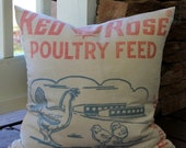 HOLIDAY SALE - Vintage Feedsack Pillow Cover - Red Rose Chicken Feed  - Red White Blue - Chick - Farm Pillow Cover