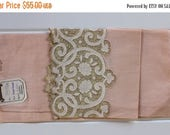 BIG SALE - Vintage Linen Towel - Madeira - Peach - Lovely Cottage Style - Rare - New with Tags