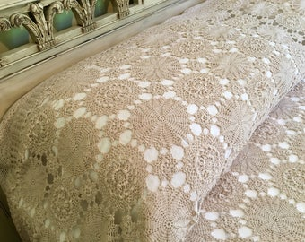 Crocheted Bedspread Coverlet - Intricate Crochet Blanket - Cottage Chic - Taupe Color - Medallions Full Queen Blanket