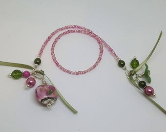Rose and Olive Green Lampwork Bead Beaded Bookmark Book Thong Floral