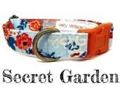"""Vintage Inspired Collar - Floral Roses Dog Collar - Girl Dog Collar - Shabby Chic Dog Collar - Antique Brass Hardware - """"Secret Garden"""""""