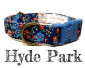 """Vintage Dark Blue Floral Dog Collar - Organic Cotton - Antique Brass Hardware - """"Hyde Park"""""""