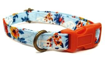 Secret Garden - Organic Cotton CAT Collar Breakaway Safety - Light Blue Orange Vintage Floral - All Antique Brass Hardware