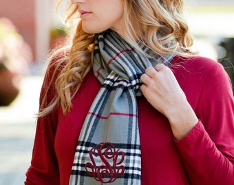 Personalized Gunsmoke Plaid Scarf - Monogrammed Plaid Scarf, Cashmere Feel Scarf with Initials, Embroidered Monogram Scarf, grey scarf
