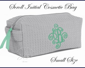 Small Size Scroll Initial Cosmetic Bag - Personalized makeup bags Purse sized make up case waffle weave cosmetics bags bridesmaids, washable