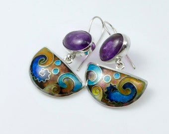 Purple Amethyst and Cloisonne Enamel  Silver Earrings
