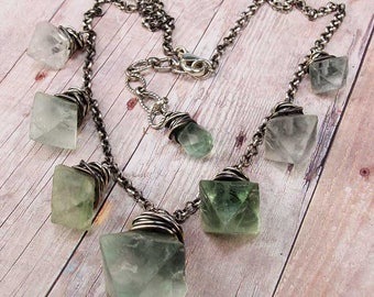 LAMPLIGHTER - Natural Green Rough Fluorite Crystals Cascade Necklace, Antiqued Sterling Silver Chain