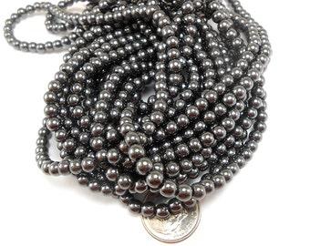 100 Hematite Beads 4MM round (H2394)