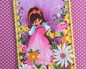Crocheted Ornament / Tag / Book Mark - Flower Basket Girl -  Recycled Vintage Greeting Card