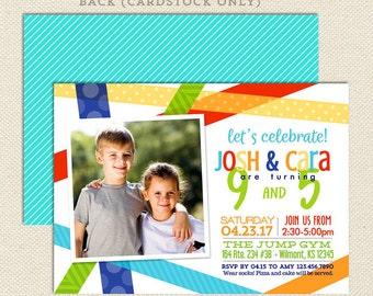 Sibling Birthday Party Invitation: Bright Birthday Bash , Joint Birthday Invitation for Teens, Tween Double Birthday Invitation, Twin Invite