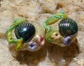 Lampwork SRA Handmade Glass Beads by Catalinaglass Beach Earring Pair
