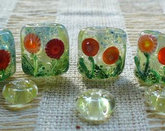 Lampwork SRA Handmade Glass Beads by Catalinaglass Flower Garden