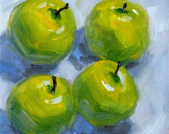 Green Apples, Still Life, Oil Painting, Original 6x6 Canvas, Small Fruit Art, Granny Smith, Square Format, Kitchen Wall Decor, Food