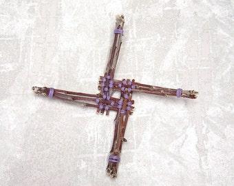 Brigid Cross - Handmade Hearth Gift Woven in Lavender Purple - Unique Rustic Apple Wood Celtic Inspired Wall Decor Ornament ABC05