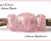 Big Hole Pretty Pink Whispers Lampwork Bead Set