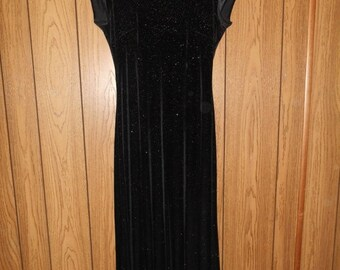 SALE Vintage 90's  stretch stretchy black velvet  dress long maxi   sparkles sparkly     high neck