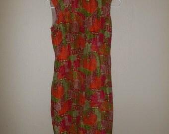 SALE Vintage 50's 1950's  silk    dress        women's women ladies clothing clothes       XS