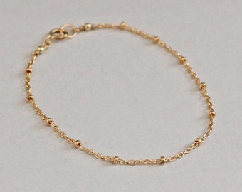 Gold Dotted Bracelet Satellite Chain 14K Gold Fill Bracelet, Tiny Dotted Chain, Minimal Jewelry Delicate Bracelet