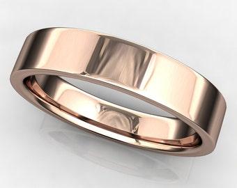 archer ring - men's 14k rose gold wedding band, brushed satin finish