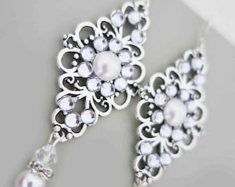 Crystal Pearl Earrings Art Deco Wedding Chandelier Swarovski Pearl Crystal Bridal Jewelry 1920s 1930s Old Hollywood Downton Abbey Drop Ears