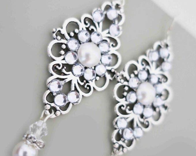 Crystal Pearl Earrings Art deco Wedding Jewelry