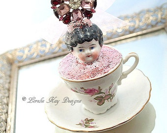Frozen Charlotte Teacup Ornament Art Doll Assemblage Art Doll China Teacup Mixed Media Doll Sculpture Tea Lover Gift Tea Party Decoration