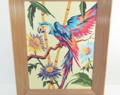 Vintage paint by number parrot macaw, tropical, bird, mid century modern blonde wood frame, kitsch PBN art