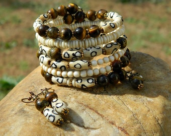 Tribal Batik Bone and Tiger Eye Gemstone Bead Bangle Set
