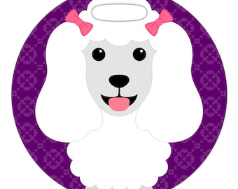 Luggage Tag - White Poodle - Round Plastic Bag Tag