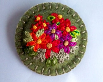 Felt Brooch or Pin - Bright Floral Hand Embroidery