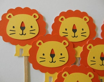 Lion Cupcake Toppers - Zoo Animal Decorations - Safari Animal Toppers - Child Birthday Decorations - Baby Shower Decorations - Set of 6