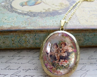Will you be my Valentine, locket, gift box, Ready To Ship, vintage inspired, romance, valentine, cherubs, valentine jewelry