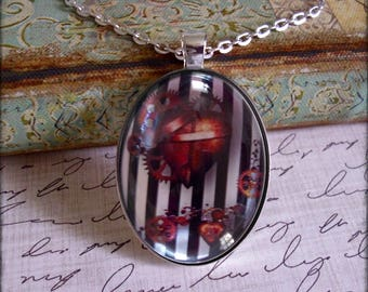 Steampunk Hearts, altered art pendants,illustration jewelry, gift boxed,only 5 pendants made of each design, gothic, black or silver setting