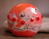 Art Glass Lampwork Focal Bead Coral Orange with Red Divine Spark Designs SRA