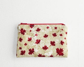 Small Zippered Notions Pouch - Maple Leaves